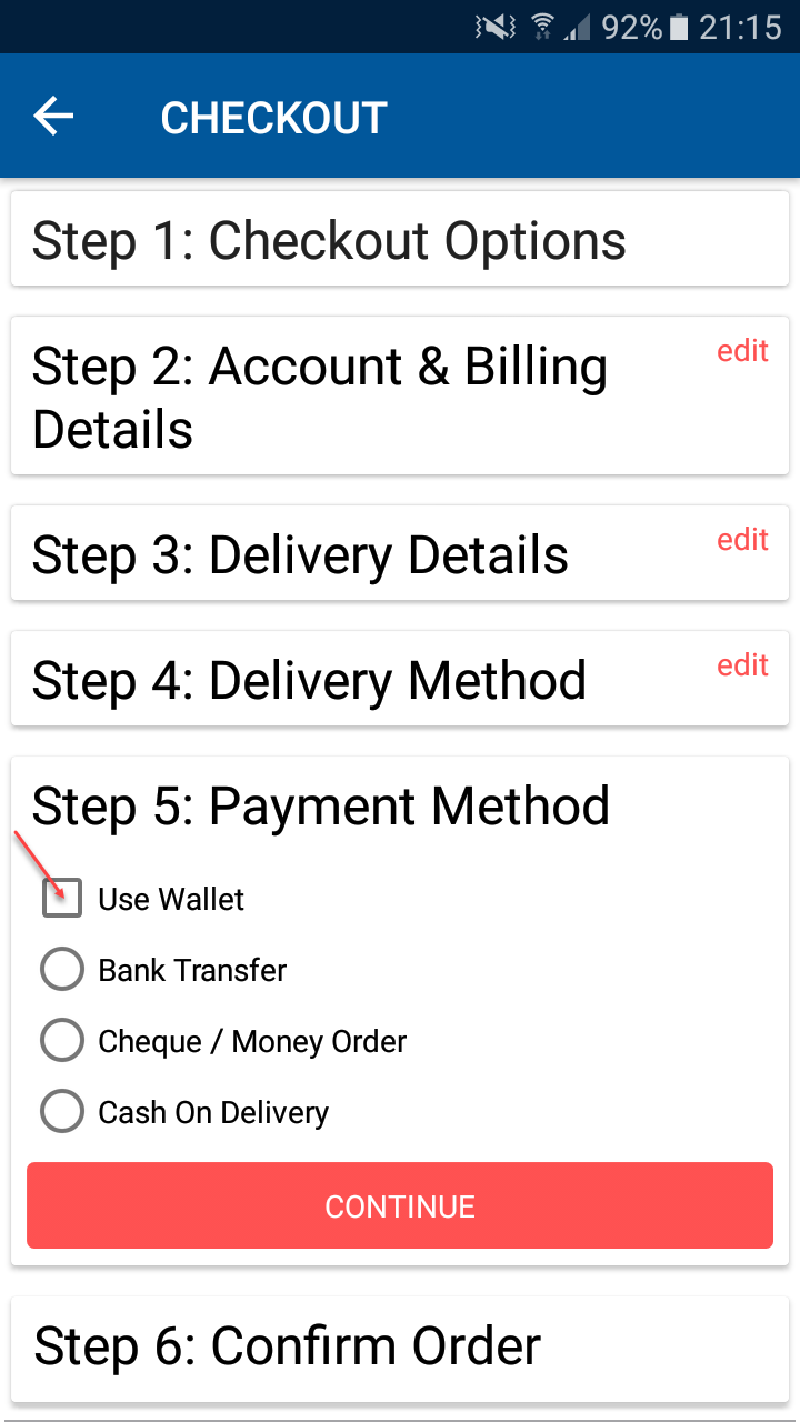 Opencart Mobikul Mobile App - Enable to the Wallet