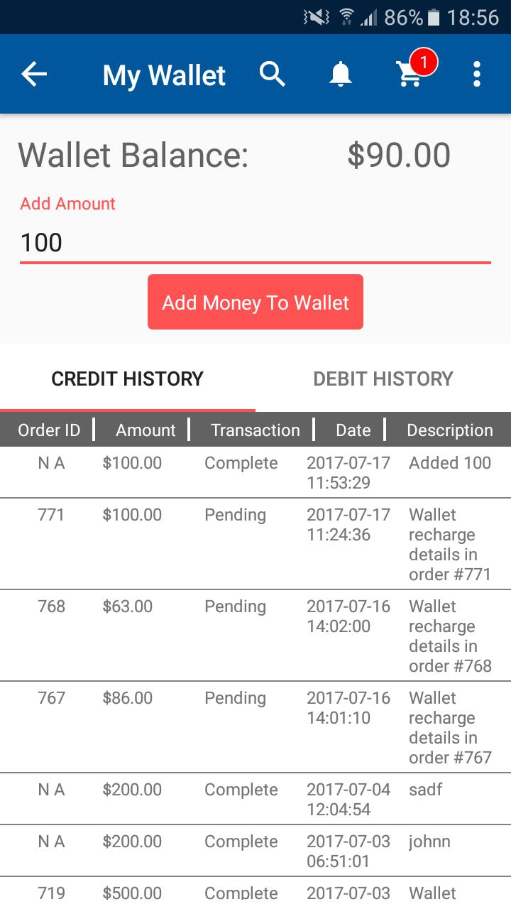 Opencart Mobikul Wallet - Add Money To Wallet