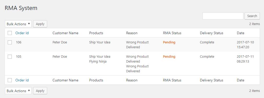 RMA system