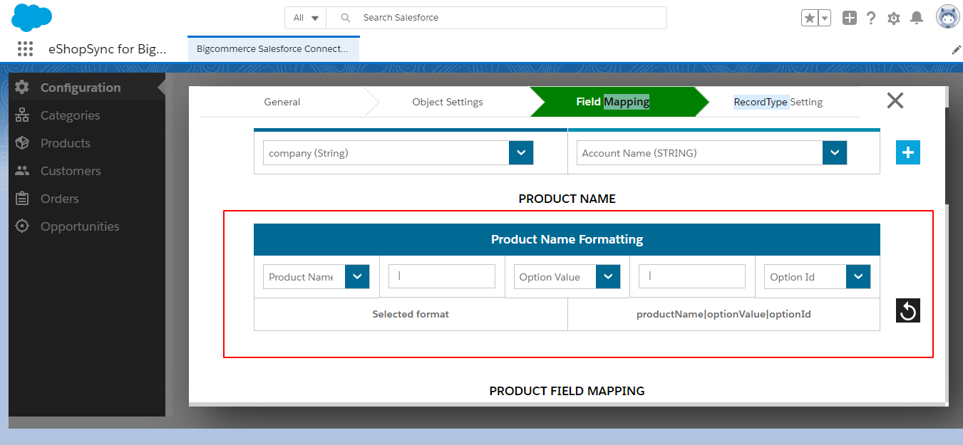 Product-name-field-mapping