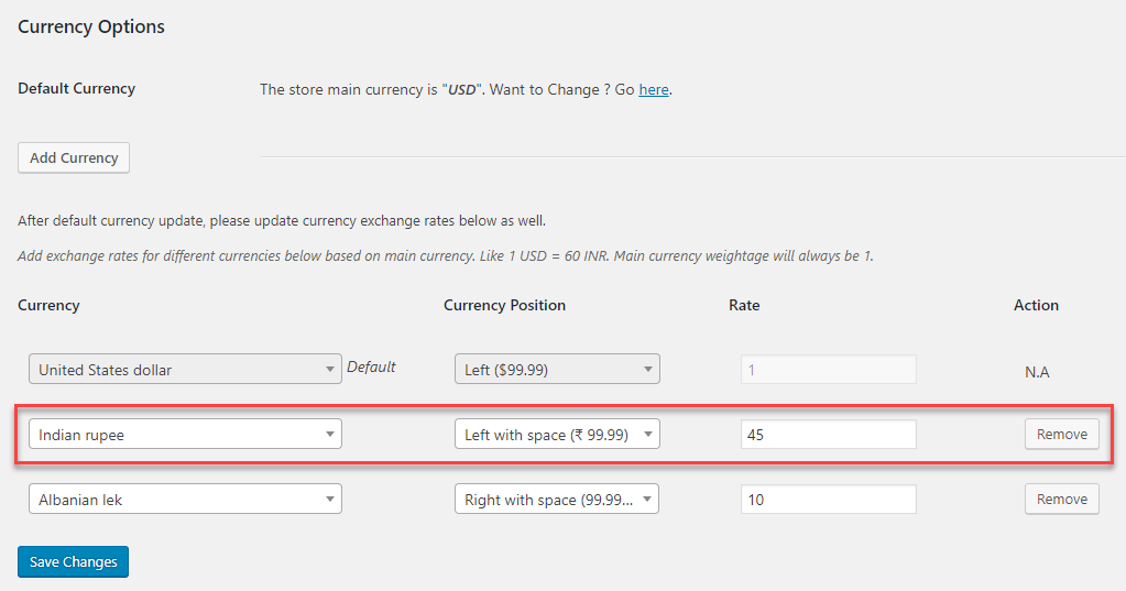 Multi Currency - Default