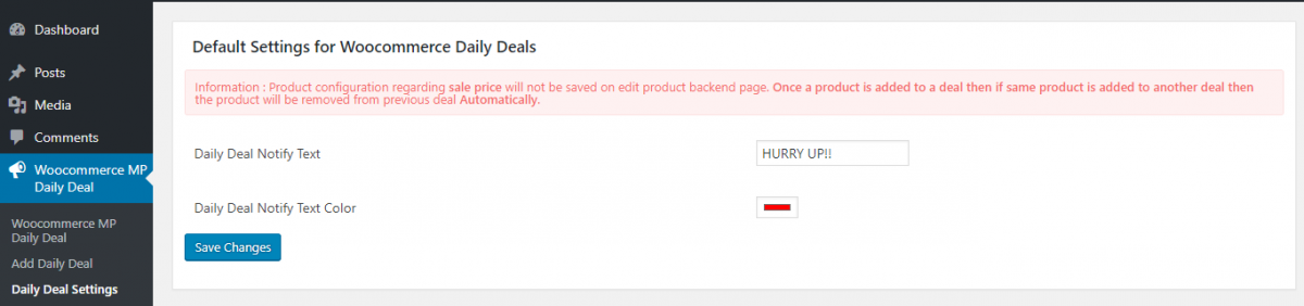 daily deals setting