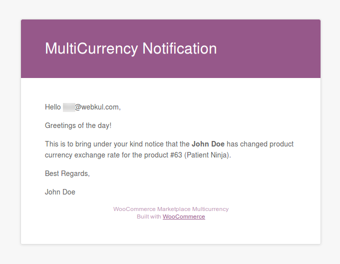 Multi Currency - Admin Mail