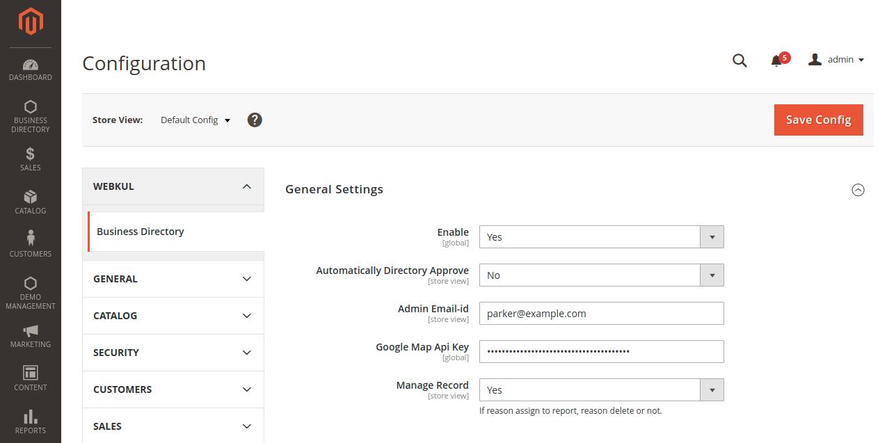 Webkul-magento-2-business-directory-module-configuration