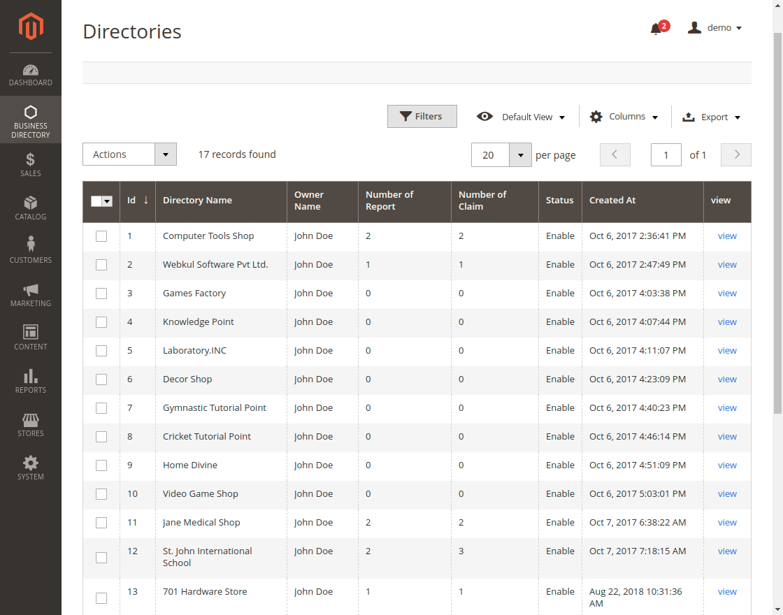 Business Directory Management