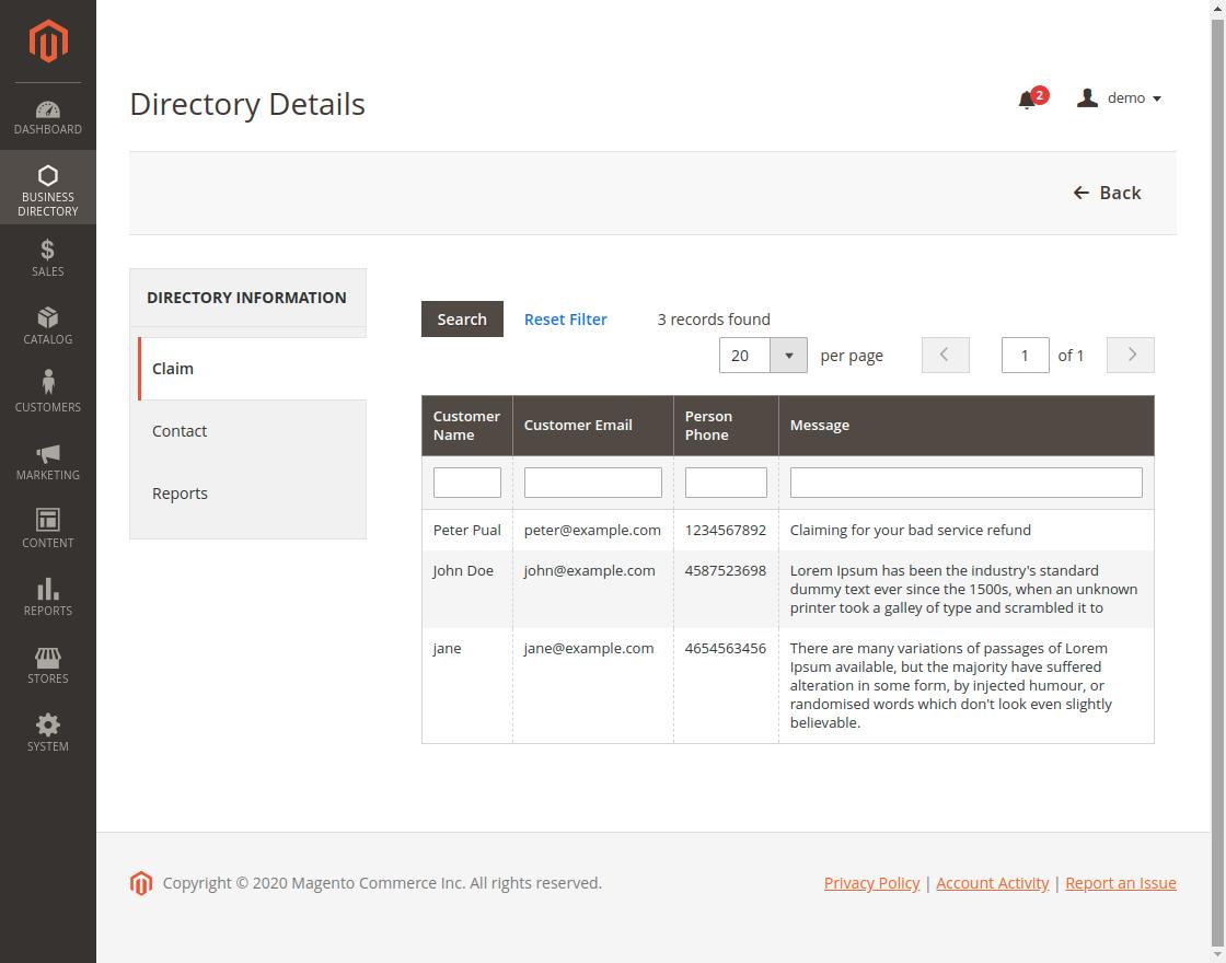 Magento 2 Business Directory - Claim