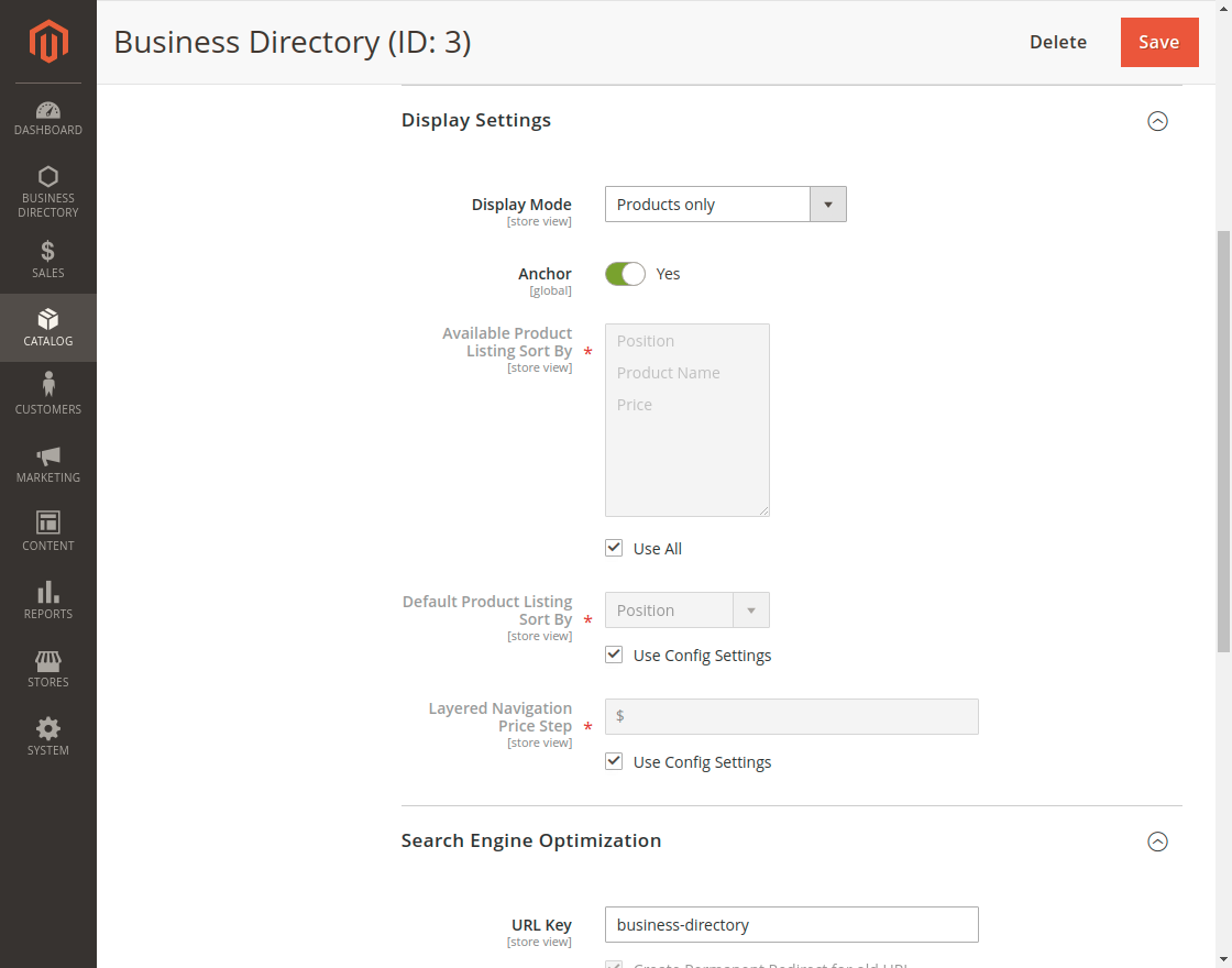 Magento 2 Business Directory - Display_Settings