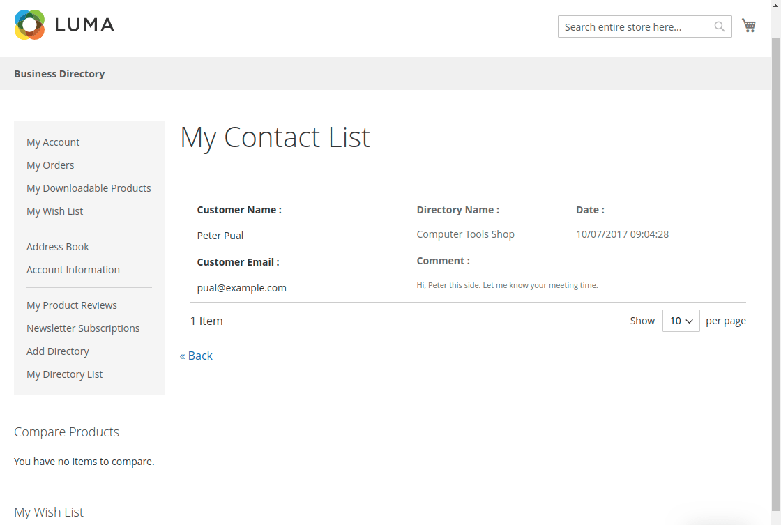 Magento 2 Business Directory conatct owner detail page