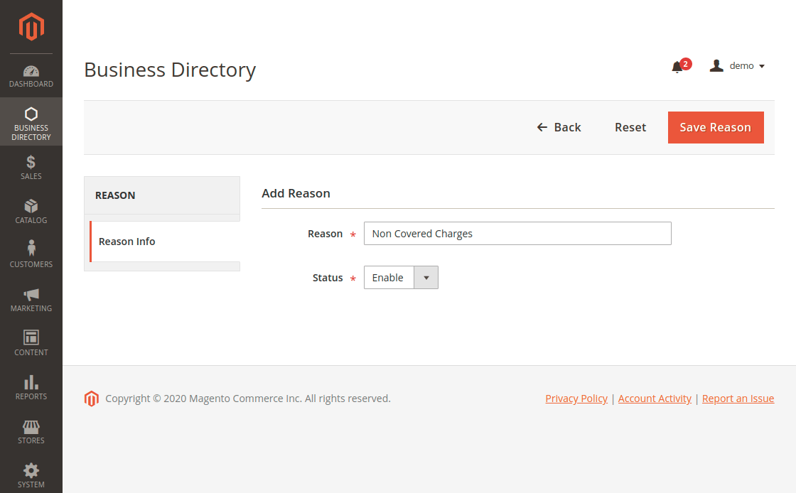 Magento 2 Business Directory - Add New Reason