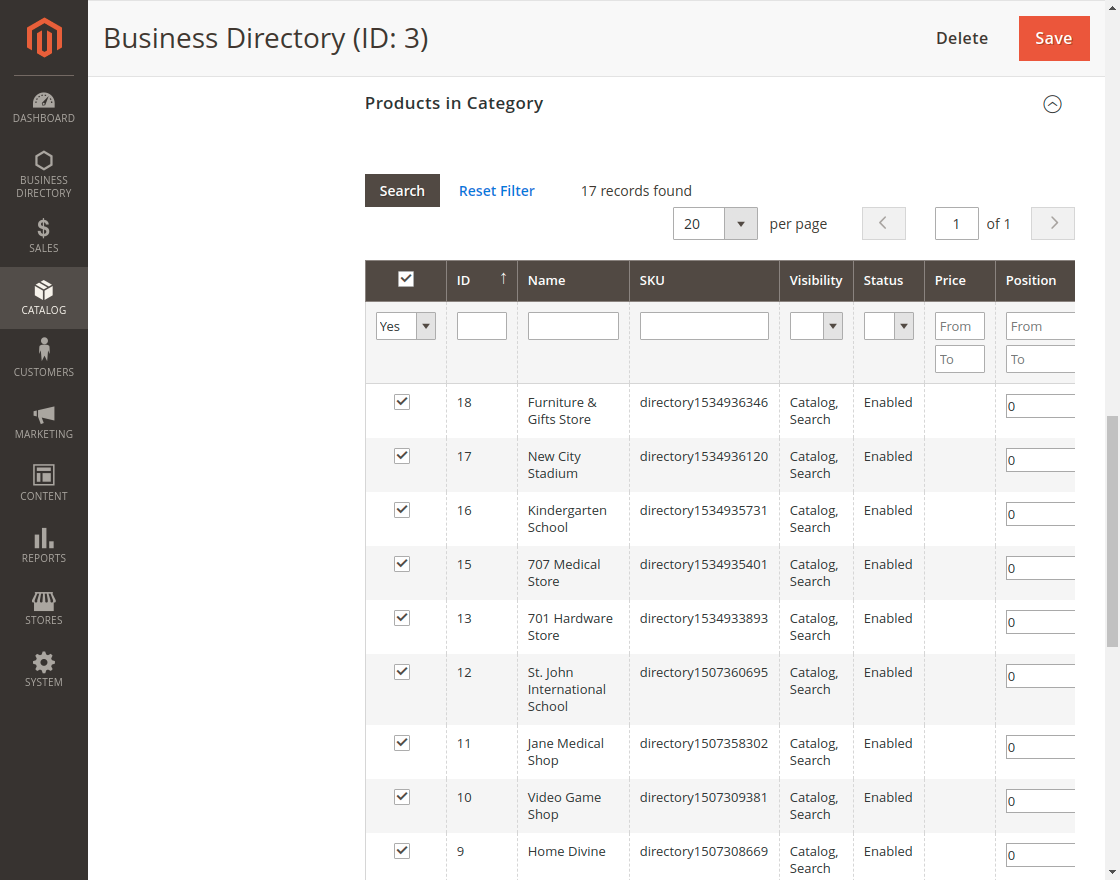 Magento 2 Business Directory - products_in_category
