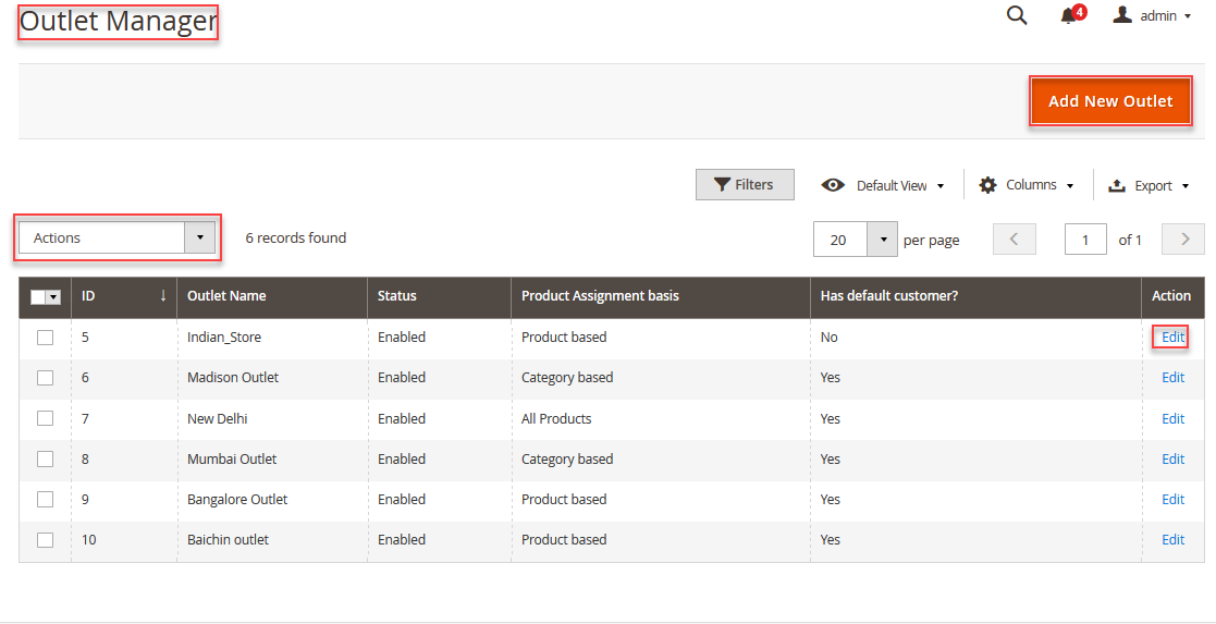 webkul pos add/manage outlet