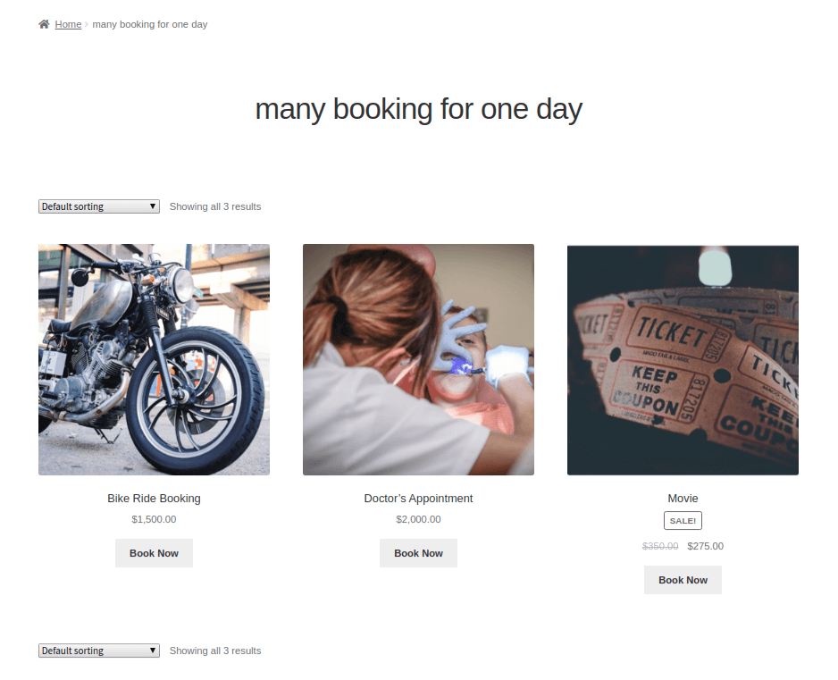 many booking for one day