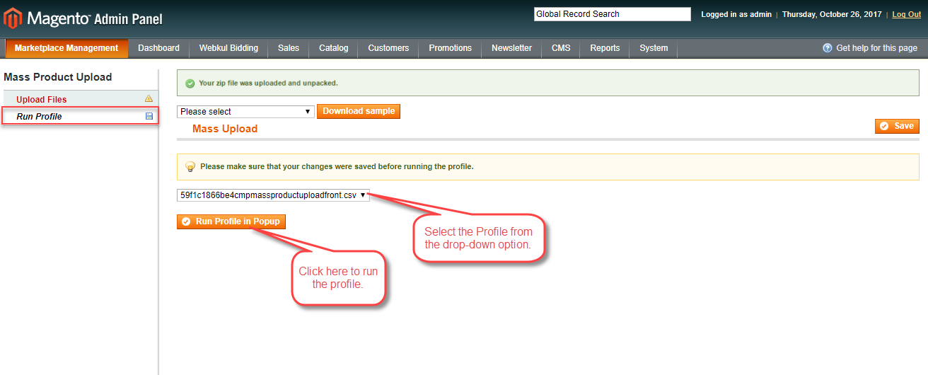 Admin Select profile from the dropsown option