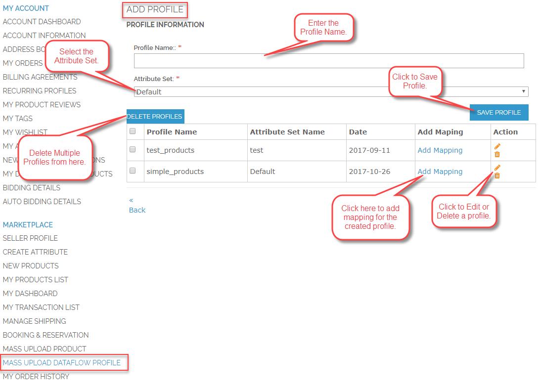 Front-End Management of Marketplace Mass Upload