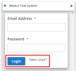 login from chat window