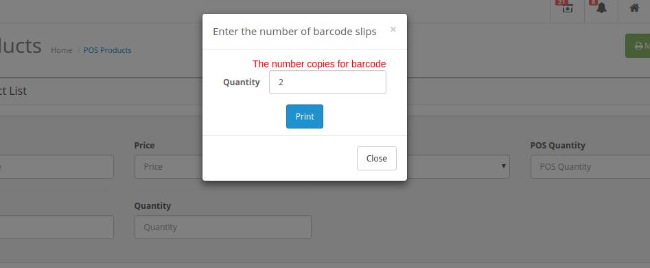 print barcode popup