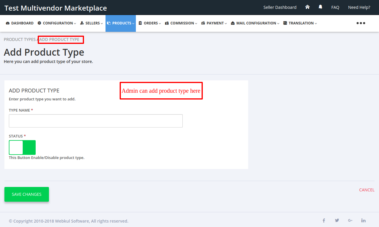 Add product Type Multivendor Marketplace for Shopify by Webkul
