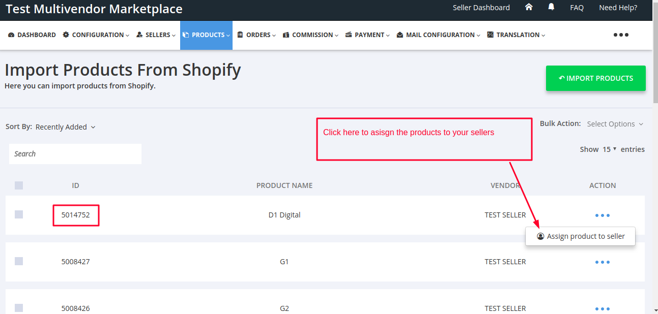 Assign Products Multivendor Marketplace for Shopify by Webkul