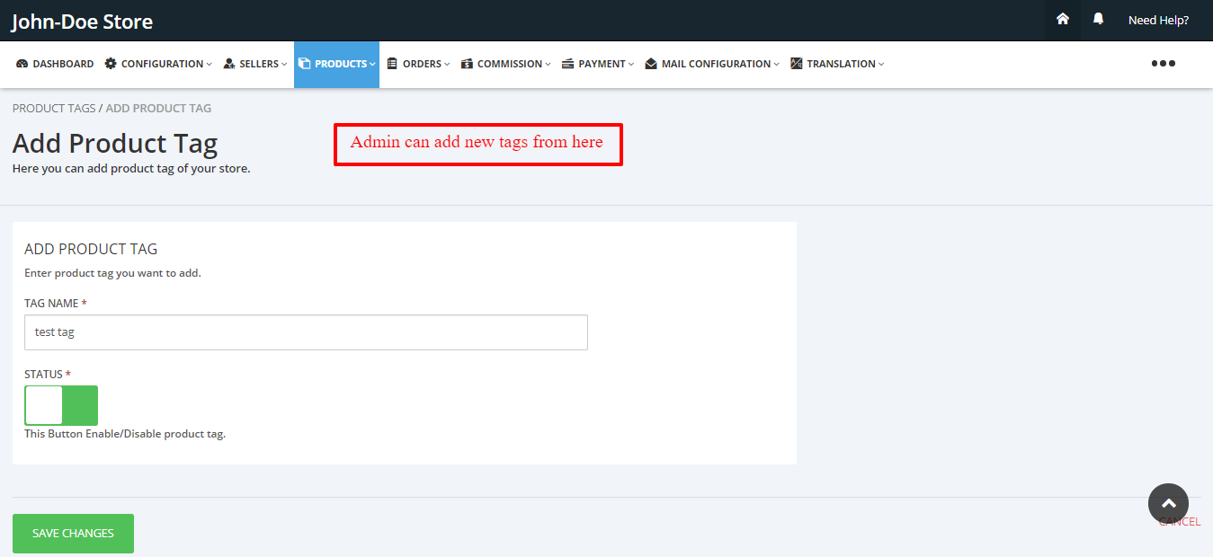 Add tags Multivendor Marketplace for Shopify by Webkul