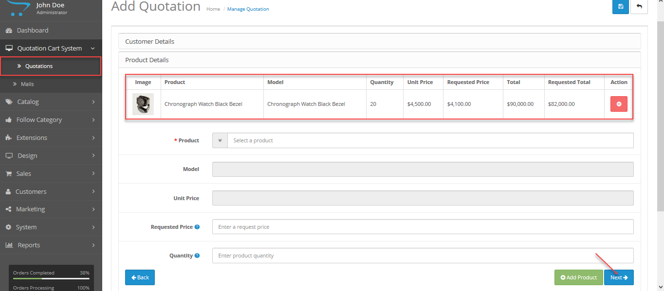 Product Details Page - Customer's Behalf