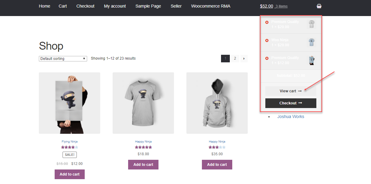 Products Added To the Cart