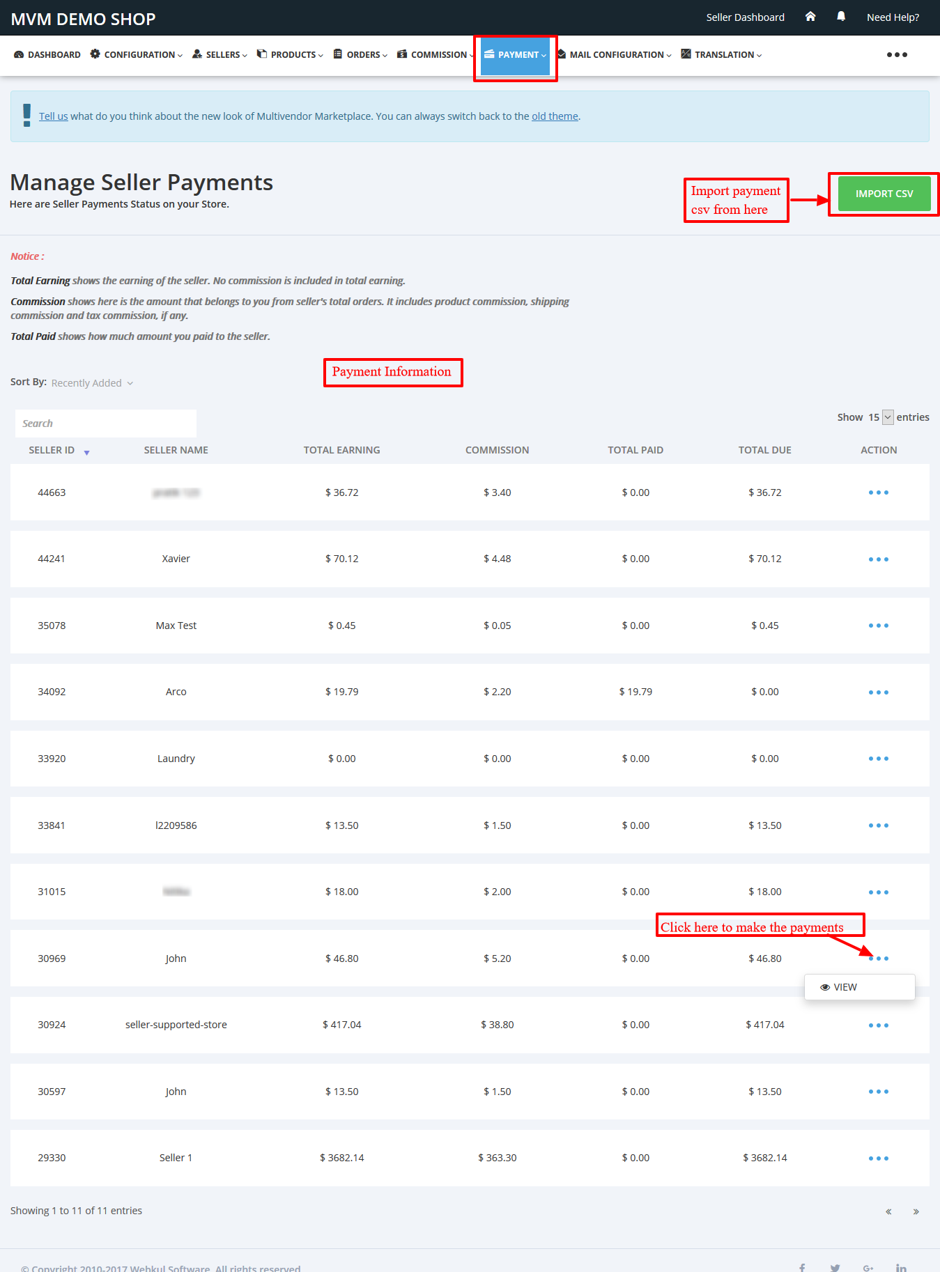 Payment Information Multivendor Marketplace for Shopify by Webkul