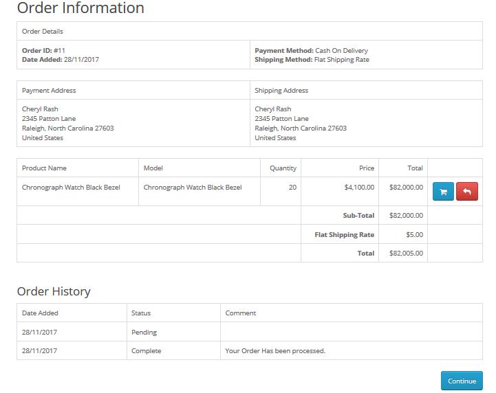 Customer Order Details