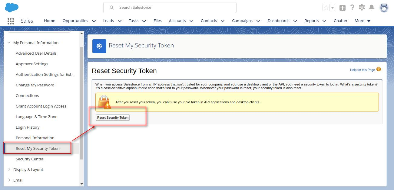 How do I find my security token or reset it in Salesforce