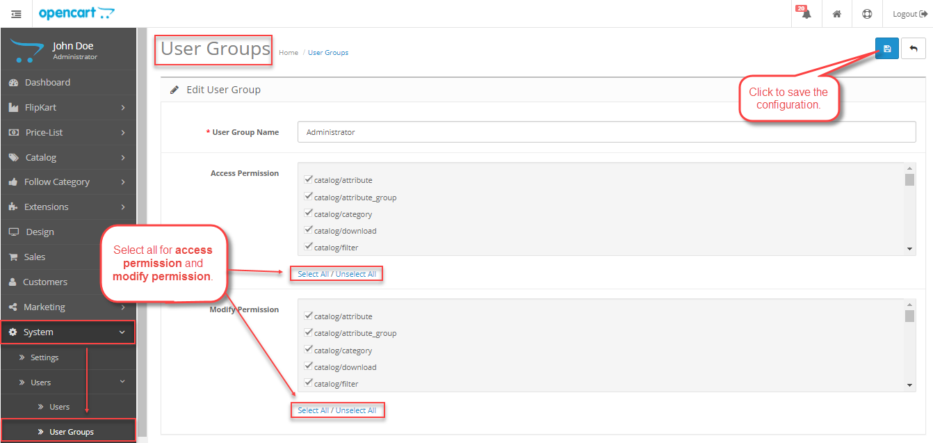 User Access permissssion Step Installation