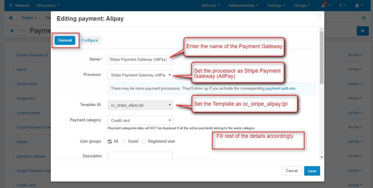 cs-cart stripe payment gateway for AliPay