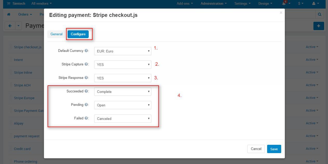 cs-crt stripe payment gateway configuration