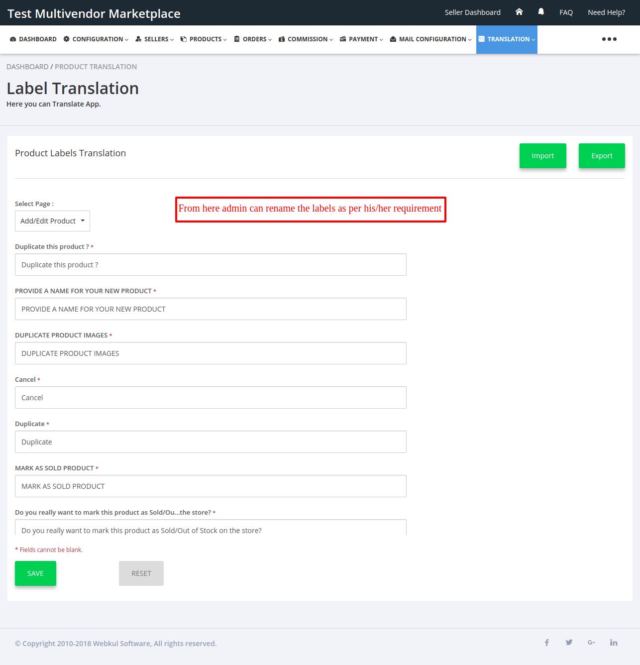 Label Translation Multivendor Marketplace for Shopify by Webkul