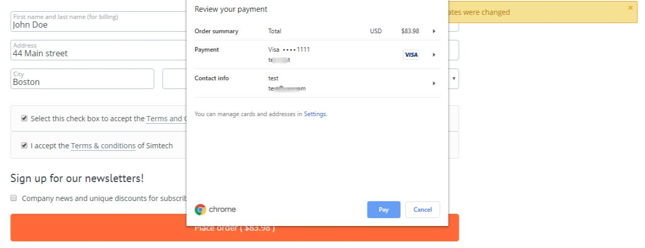 view of payment request