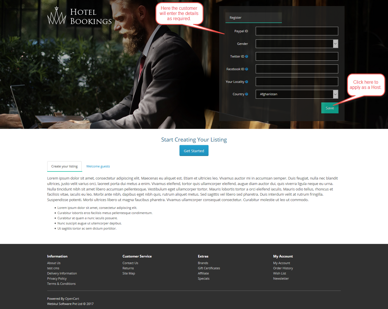 Opencart Marketplace Hotel Booking System