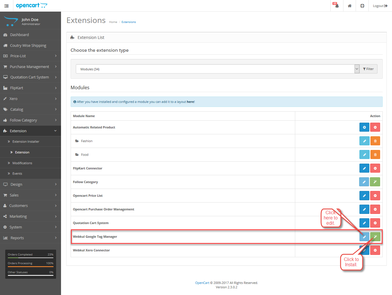 Opencart Google Tag Manager Configuration