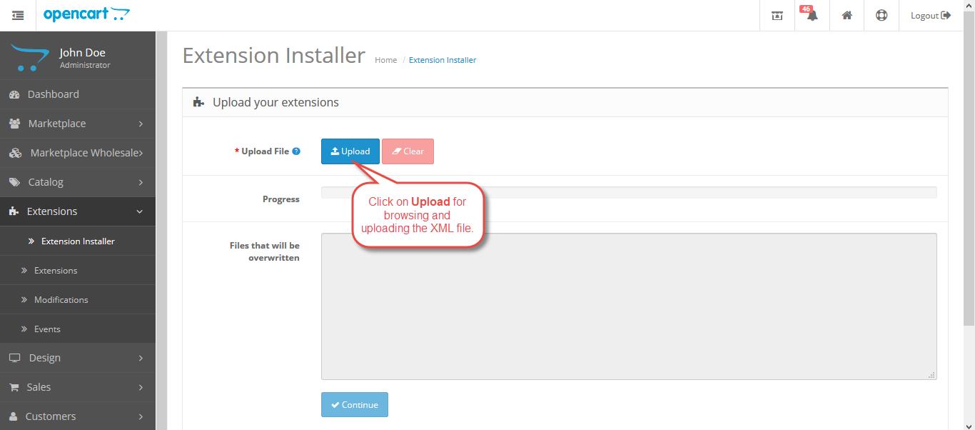 Extension Installer OpenCart Marketplace Vendor Sub Account