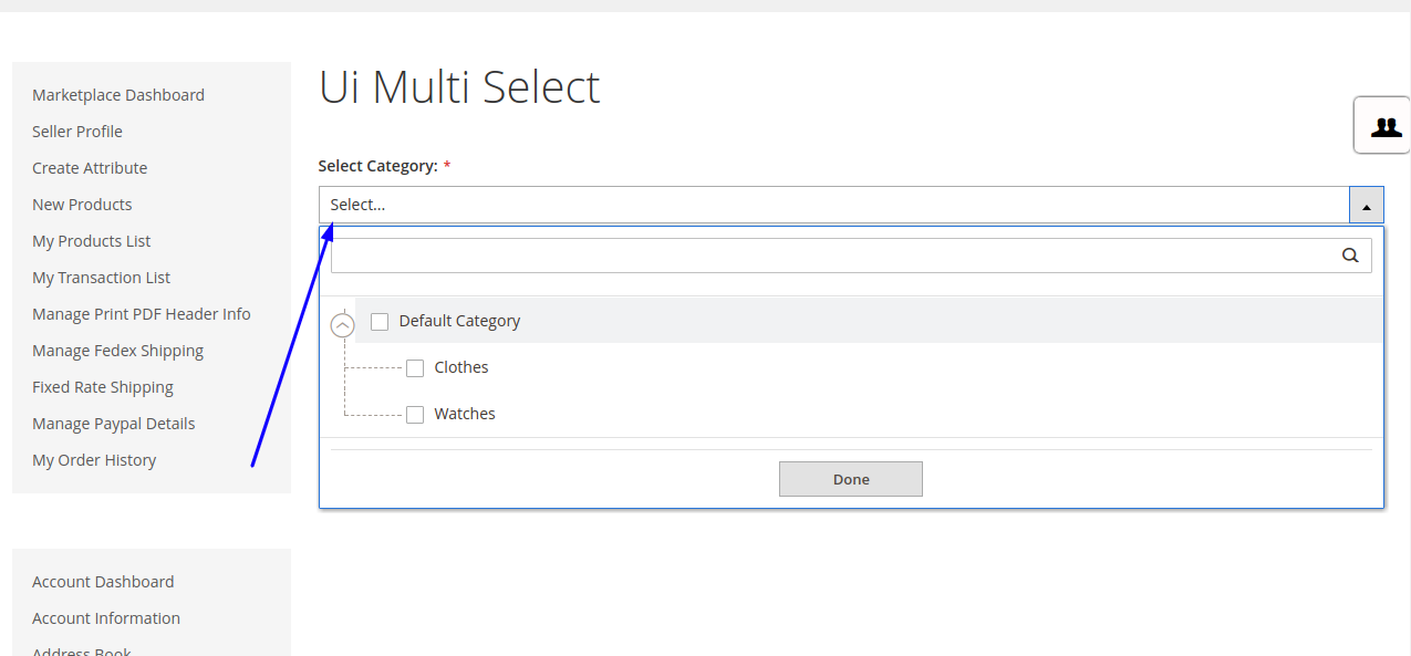 Magento2 Create Multi Select UI Field on Frontend as Admin