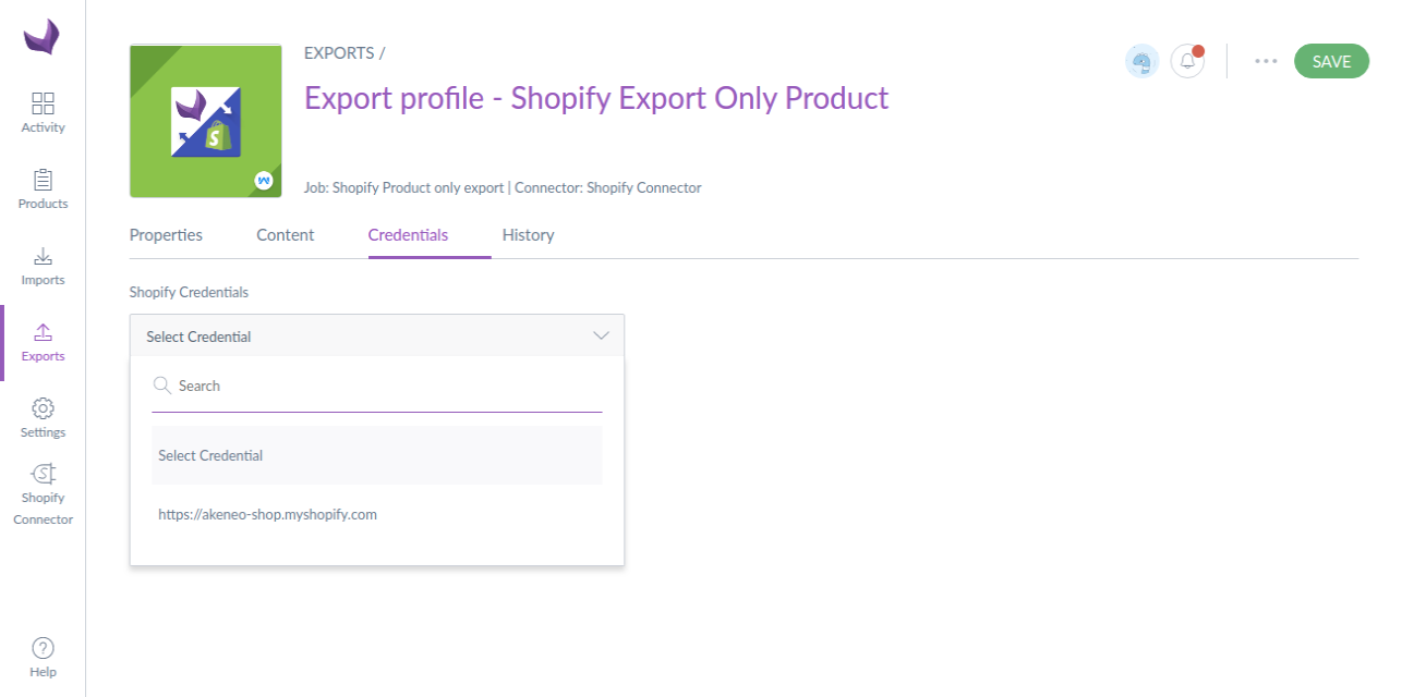 Export-profile-Shopify-Export-Only-Product-Edit