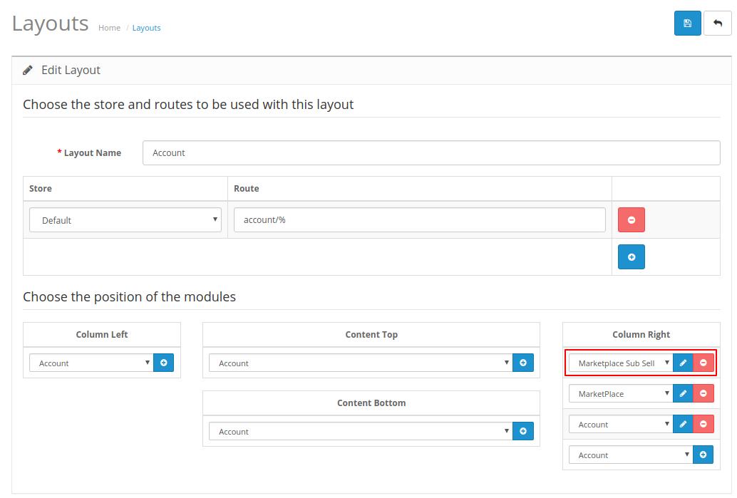OpenCart Marketplace Vendor Sub Account set layout