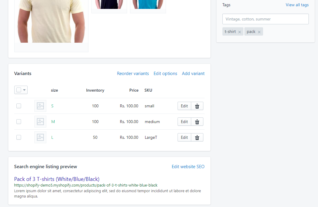 Variant product details at Shopify