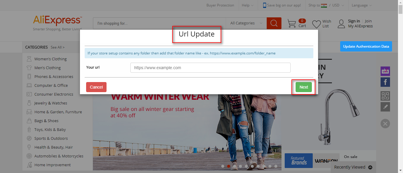 URL update
