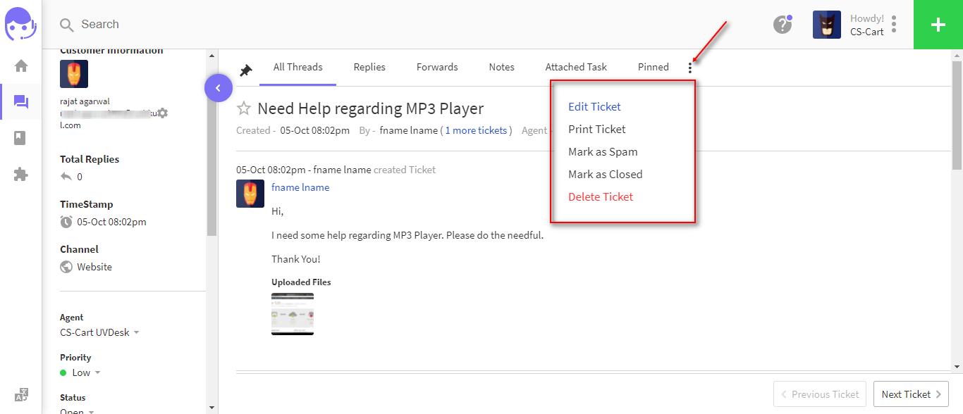 UVDesk ticket options