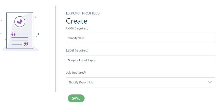 create export job - shopify