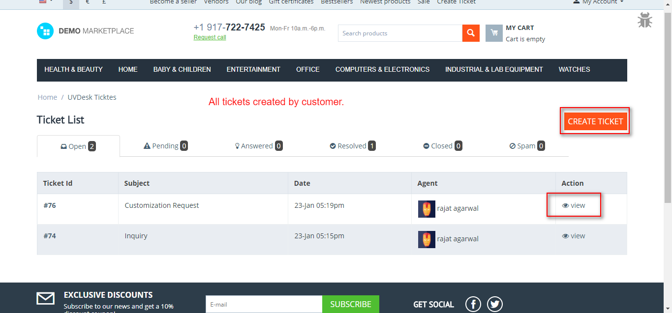frontend tickets