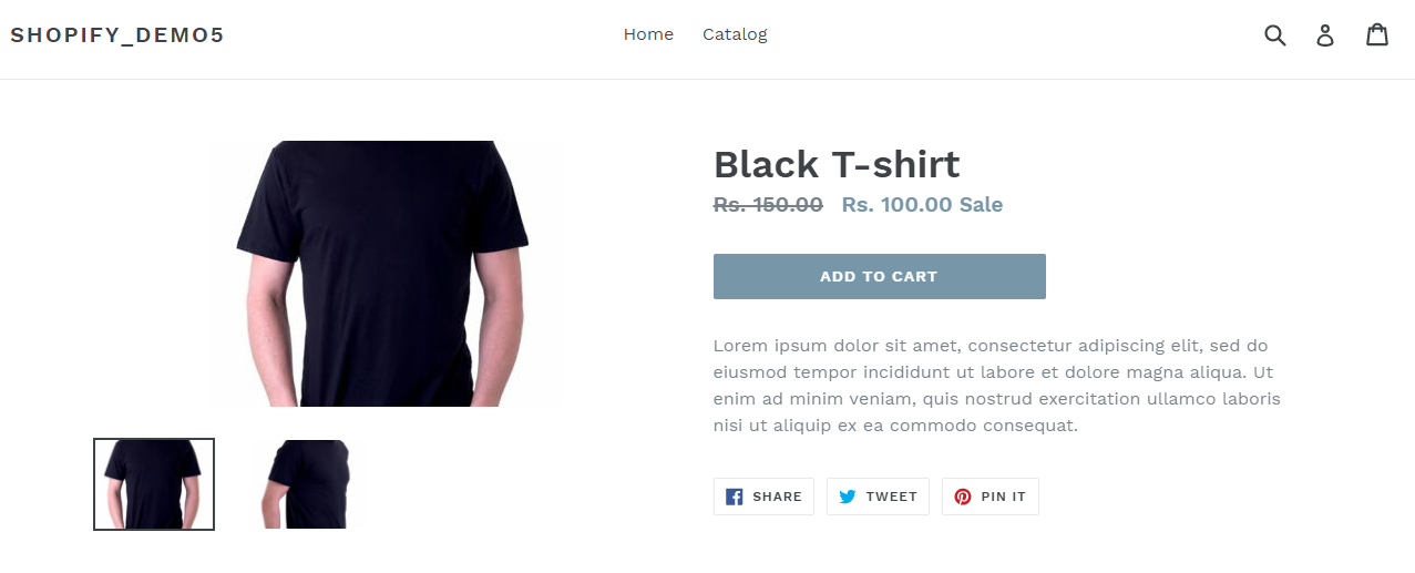 shopify simple product