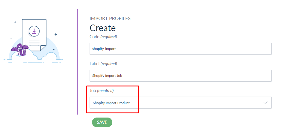 webkul-shopify-akeneo-connector-import-job-profile