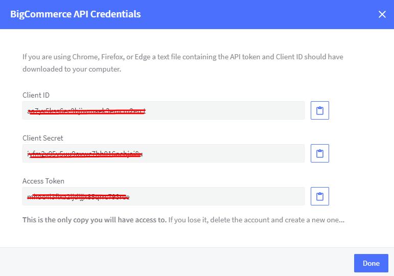 API credentials created