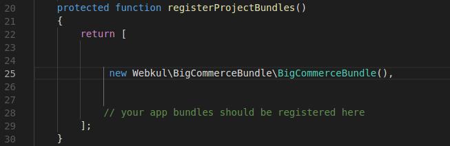 Add code in AppKernel.php file