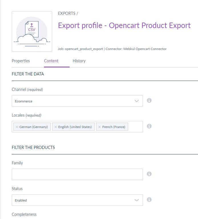 export product job - filter data