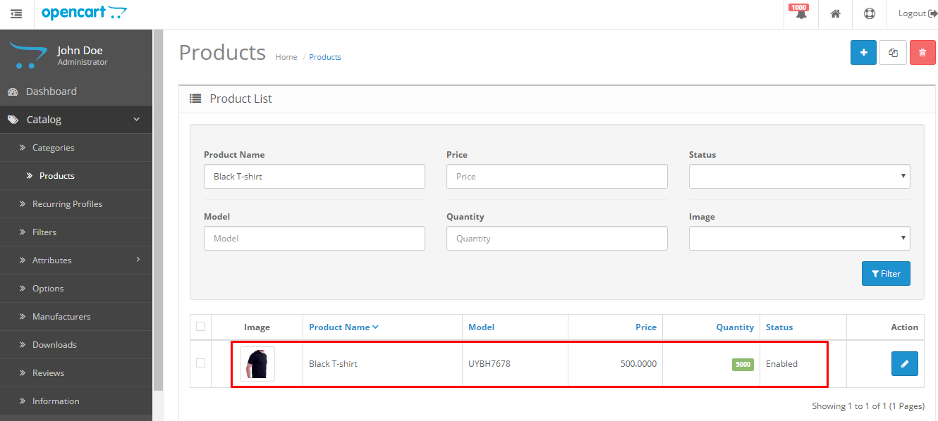 exported product in opencart